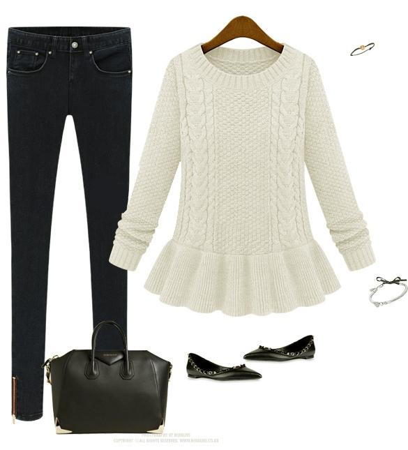 Jersey blanco peplum invierno