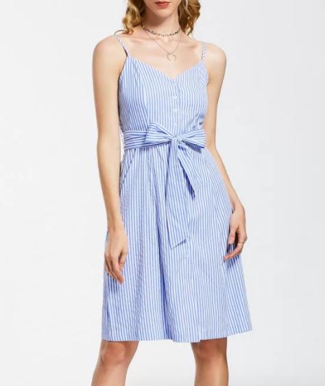 Vestido de rayas azul